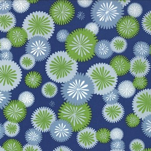 Simply Color 10803-20 Navy Blue Mod Blossoms by V & Co for Moda EOB
