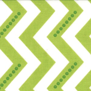 Simply Color 10804-18 White Lime Green Dotted Zig Zag by V & Co/Moda