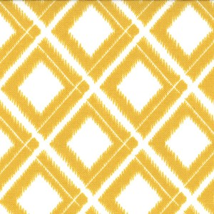 Simply Color 10806-11 White Mustard Ikat Diamonds by V & Co for Moda
