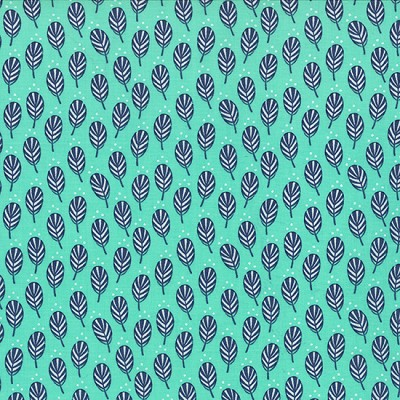 Color Me Happy 10822-13 Teal Navy Sprouts by V & Co for Moda