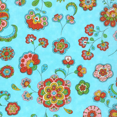 Gypsy Girl 11462-14 Pale Blue Sky Paisley Flowers for Moda EOB