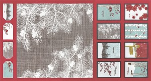 Winter's Lane 13090-12 Berry Panel by Kate & Birdie for Moda