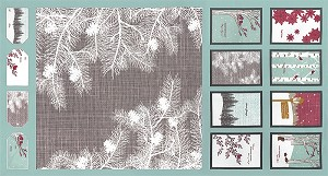 Winter's Lane 13090-13 Mint Panel by Kate & Birdie for Moda