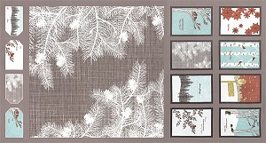 Winter's Lane 13090-14 Grey Panel by Kate & Birdie for Moda