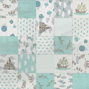 Storybook 13110-12 Aqua Patchwork by Kate & Birdie for Moda