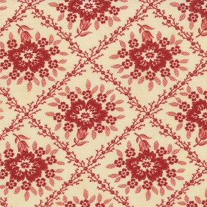 Midwinter Reds 14761-15 Cream Red Crosshatched Floral by Moda