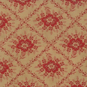 Midwinter Reds 14761-16 Tan Red Crosshatched Floral by Moda EOB
