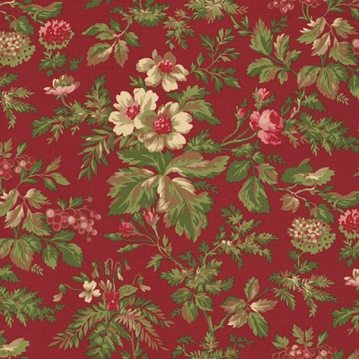 Incarnadine 1994-002 Red Med Floral by Robyn Pandolph for RJR