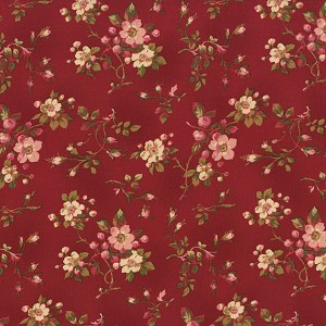 Incarnadine 1995-002 Red Small Floral by Robyn Pandolph for RJR