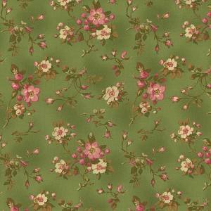 Incarnadine 1995-003 Green Small Floral by Robyn Pandolph for RJR