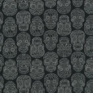 Fabric Fiesta 2022-002 Cream/Black Skulls by Dan Morris for RJR