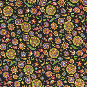 Fabric Fiesta 2024-002 Black Floral by Dan Morris for RJR