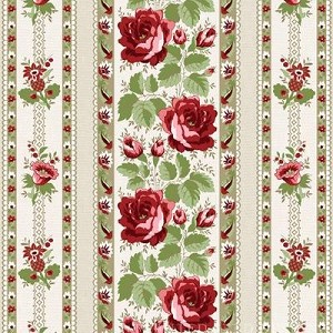 With All My Heart 24810 Beige Floral Stripe by Red Rooster