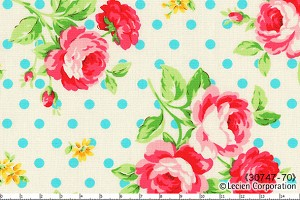 Flower Sugar 30747-70 Roses and blue dots on white