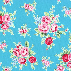 Flower Sugar Fall '13  30841-70 Lg Floral on Turquoise by Lecien