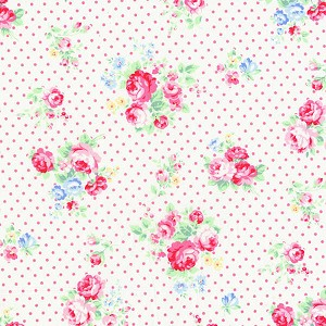 Flower Sugar Fall '13  30842-20 Pink Roses & Dots on White by Lecien