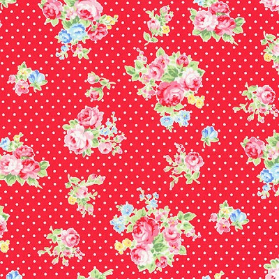 Flower Sugar Fall '13  30842-31 Roses & Dots on Red by Lecien