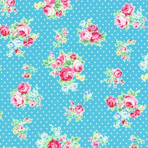 Flower Sugar Fall '13  30842-71 Roses & Dots on Blue by Lecien