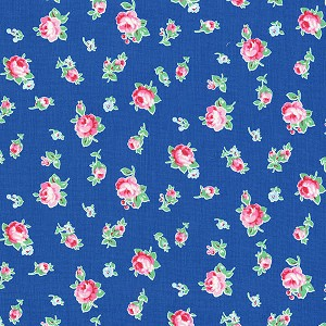 Flower Sugar Fall '13  30843-77 Small Floral on Blue by Lecien