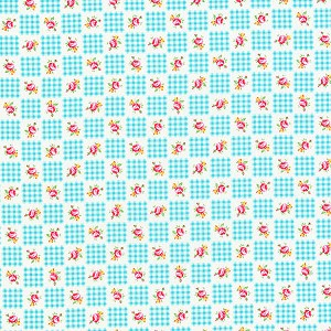 Flower Sugar Fall '13  30844-70 Turquoise Gingham Roses by Lecien