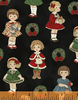 Paper Dolls Christmas 30868-3 Small Dolls on Black by Windham EOB