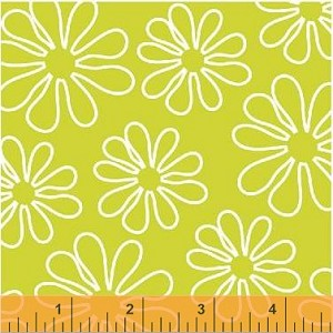 Shadow Flower 33444-2 Lime Outline Daisy by Windham Fabrics