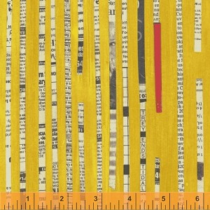 Collage 36528-8 Gold Newspaper Stripe by Carrie Bloomston for Windham