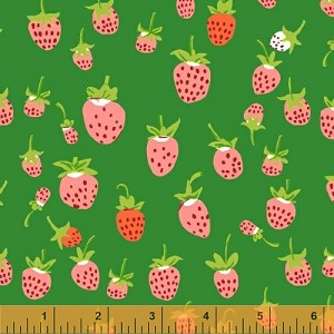 Briar Rose 37024-5 Green Strawberry by Heather Ross for Windham