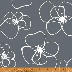 Mormor 37116-1 Slate Blomster by Lotta Jansdotter for Windham
