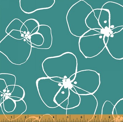 Mormor 37116-3 Emerald Blomster by Lotta Jansdotter for Windham