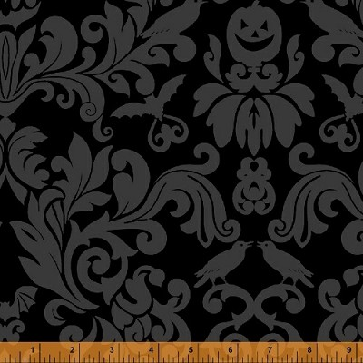 Raven 38984-1 Black Damask by Rosemarie Lavin for Windham