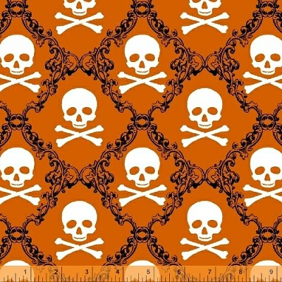 Raven 38986-2 Orange Skulls by Rosemarie Lavin for Windham