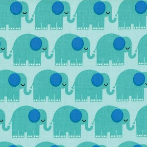 Bungle Jungle 39502-12 Aqua Elephants by Tim & Beck for Moda