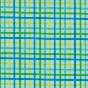 Bungle Jungle 39506-12 Aqua Zoo Checks by Tim & Beck for Moda