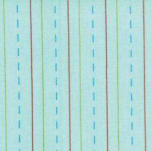Bungle Jungle 39507-12 Aqua Dashed Stationary by Tim & Beck for Moda