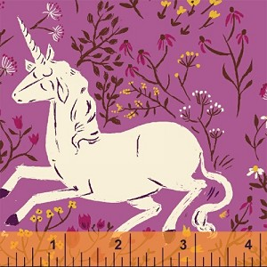 Far Far Away 39657-1 Purple Unicorn by Heather Ross for Windham