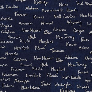 Hatbox Cotton/Linen 4004-32 Navy All the States by Cotton + Steel