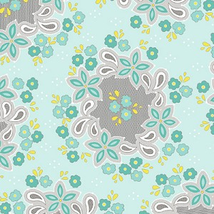 Sweet Harmony 9596-11 Aqua Small Floral by Henry Glass