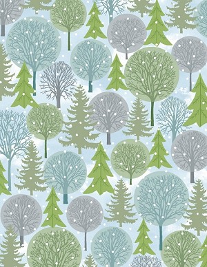 Holiday Cheer 9686-01 Blue Green Trees by Henry Glass