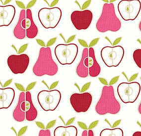 Apples and Pears - Natural, Pink 6658-CR by Alexander Henry EOB