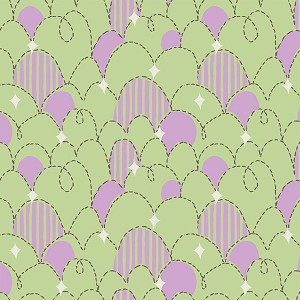 Feather N Stitch 110.101.04.3 Green Purple Stitched Eggs by Blend
