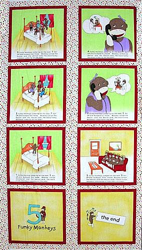 5 Funky Monkeys 26000-11B Flannel Multi Panel by Erin Michael for Moda