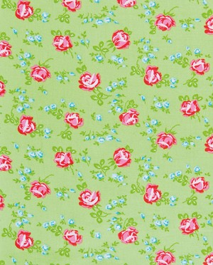 Sugar Hill PWTW049 Green Scattered Roses by Tanya Whelan-Free Spirit
