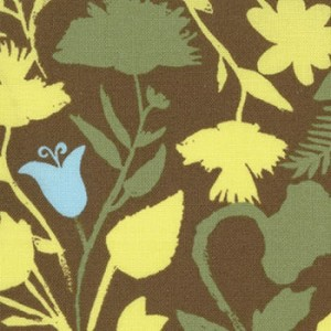 Sugar Pop 18063-18 Brown Aqua Painted Flowers by Liz Scott for Moda