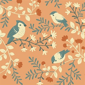 Acorn Trail Organic TW-12 Coral Birds & Branches by Teagan White for Birch