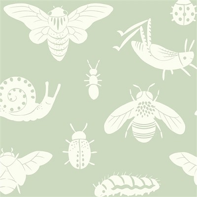 Acorn Trail Organic TW-16 Mint Tonal Bugs by Teagan White for Birch