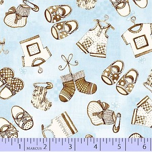 Bella Baby Baby Clothes on Blue EOB 1.39 yds