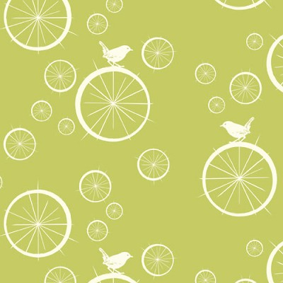 Mod Basics Organic MB-03 Green Birdie Spokes by Birch Fabrics