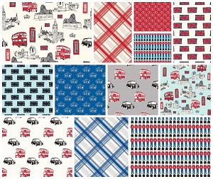 British Invasion Red/Blue 12 Fat Quarter Set by Riley Blake