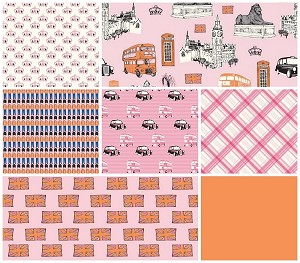 British Invasion Pink 7 Fat Quarter Set by Riley Blake